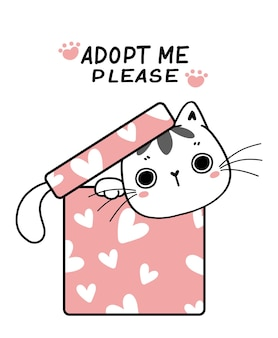 Śliczny kotek kot kreskówka w obecnym pudełku zaadoptuj mnie proszę, płaski wektor ręcznie rysowane dziecko dziecinna ilustracja