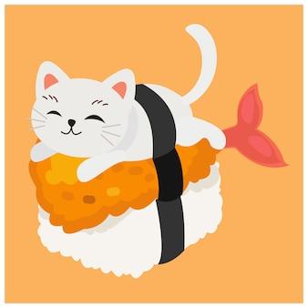 Śliczny kotek kot w sushi