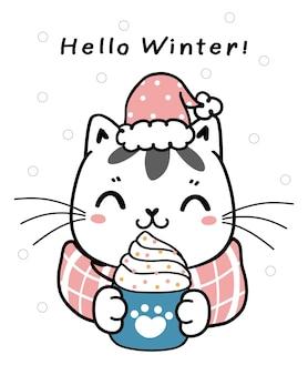 Śliczny kotek kreskówka zima kot w różowym scraf z filiżanką kawy bitej śmietany, płaski wektor ręcznie rysowane dziecko dziecinna ilustracja