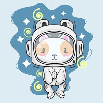 Śliczny kotek w stroju astronauty w kosmosie