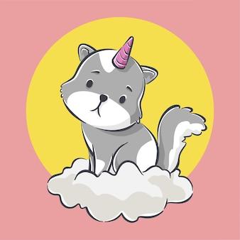 Śliczny kotek z jednorożcem ikona ilustracja kreskówka
