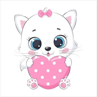 Śliczny kotek z sercem. ilustracja kreskówka wektor.