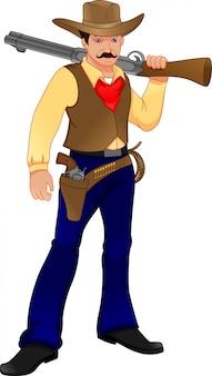 Śliczny kowboj z pistoletem
