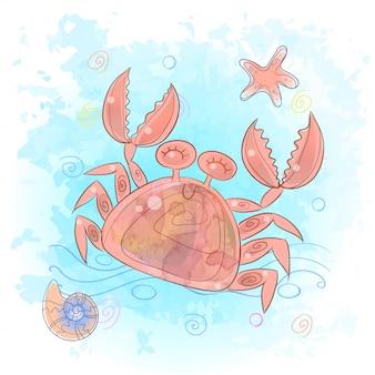 Śliczny krab w morzu. życie morskie.