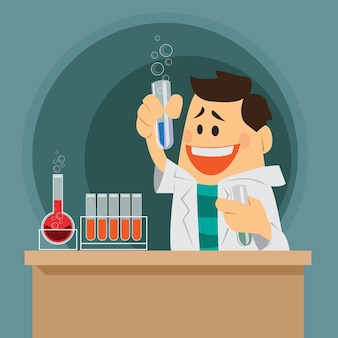 Śliczny kreskówka chemik.