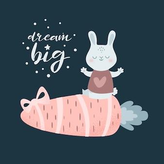Śliczny kreskówka królik i prezent marchewka