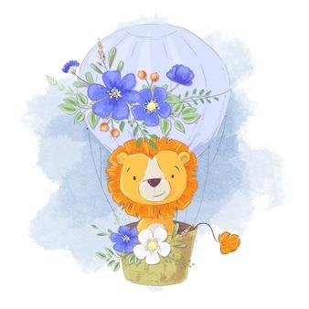 Śliczny kreskówka lew w balonie z kwiatami