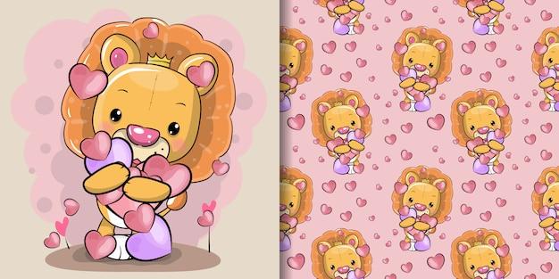 Śliczny kreskówka lew z sercami z bezszwowym wzoru setem