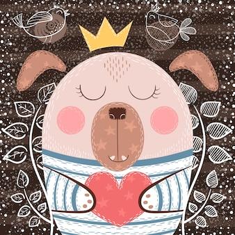 Śliczny kreskówka pies - śmieszna ilustracja. losowanie ręki