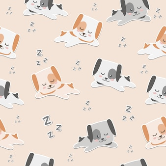 Śliczny kreskówka pies śpi bezszwową deseniową tapetę