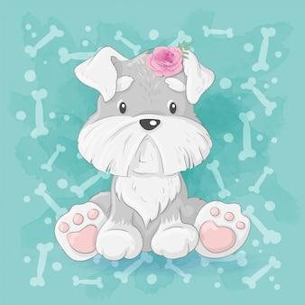 Śliczny kreskówka piesek, mały szczeniak. rysunek odręczny