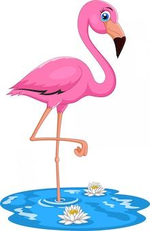 Śliczny kreskówka różowy flaming ptak