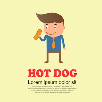 Śliczny kreskówka set, mężczyzna i hot dog
