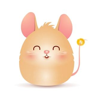 Śliczny kreskówka szczura charakteru gruby mały projekt z chińską złocistą monetą odizolowywającą na białym tle. rok szczura zodiak szczur. wektor.