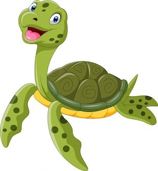 Śliczny kreskówka żółw pływanie