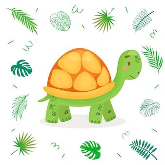 Śliczny kreskówka żółw z tropikalnymi liśćmi.
