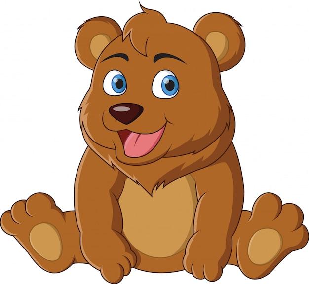 Śliczny kreskówki dziecka niedźwiedzia siedzieć