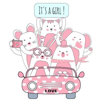 Śliczny kreskówki zwierzę w pinky samochodzie.