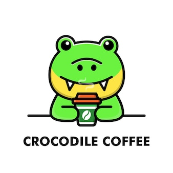 Śliczny krokodyl napój filiżanka kawy kreskówka zwierzę logo ilustracja kawy