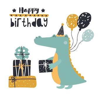 Śliczny krokodyl z prezentami urodzinowymi.
