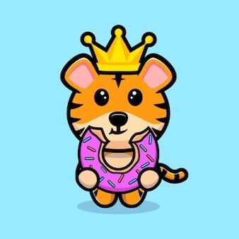 Śliczny król tygrysów jedzenie pączka kreskówka maskotka