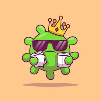 Śliczny królewiątko wirus z toaletową tkankową kreskówki ikony ilustracją. zdrowie i wirus ikona koncepcja na białym tle. płaski styl kreskówek