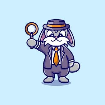 Śliczny króliczek detektyw niosący szkło powiększające