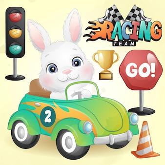 Śliczny króliczek doodle z ilustracją samochodu wyścigowego