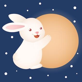 Śliczny króliczek festiwalu w połowie jesieni przytulający duży księżyc