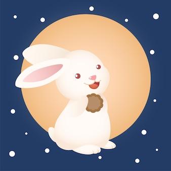 Śliczny króliczek festiwalu w połowie jesieni trzymający księżycowe ciasto z księżycowym tłem