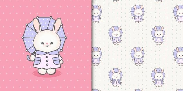 Śliczny króliczek kawaii z parasolką i dwoma bezszwowymi wzorami