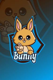 Śliczny króliczek logo e sport ilustracja