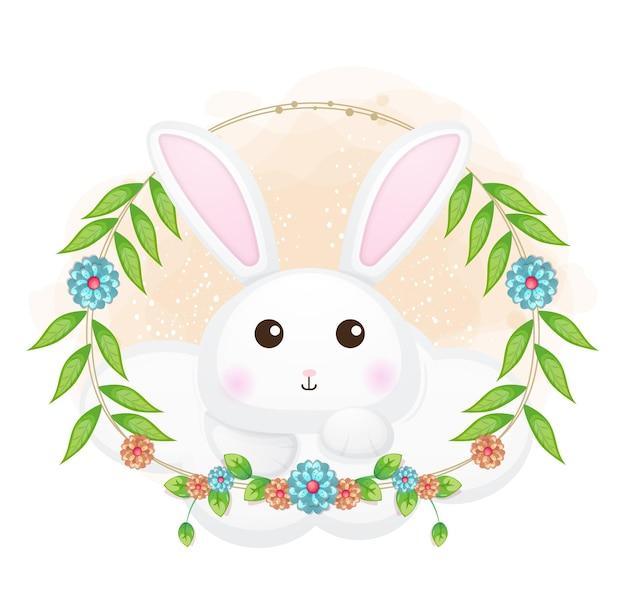 Śliczny króliczek na chmurze z ilustracja kreskówka kwiatowy.