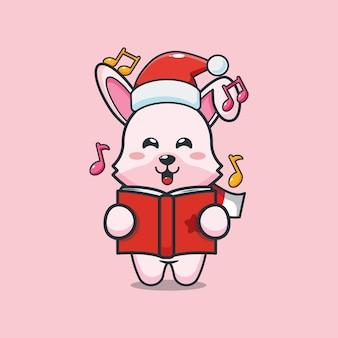 Śliczny króliczek śpiewa piosenkę świąteczną śliczna świąteczna ilustracja kreskówka