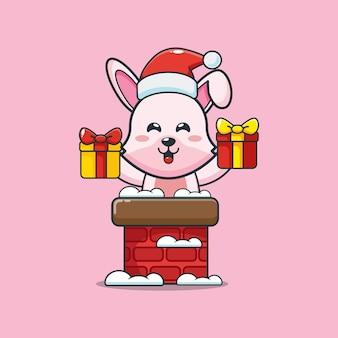 Śliczny króliczek ubrany w czapkę świętego mikołaja z komina śliczna świąteczna ilustracja kreskówka