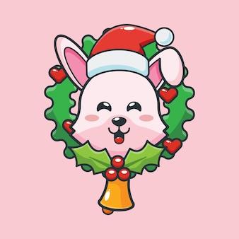 Śliczny króliczek w boże narodzenie śliczna świąteczna ilustracja kreskówka