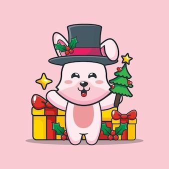 Śliczny króliczek w boże narodzenie trzyma choinkę i gwiazdę śliczna świąteczna ilustracja kreskówka
