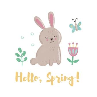 """Śliczny króliczek z motylem, liśćmi i kwiatami. koncepcja z napisem """"hello spring"""""""