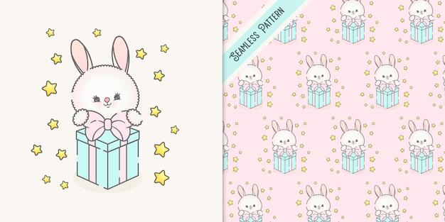 Śliczny króliczek z prezentem i wzór