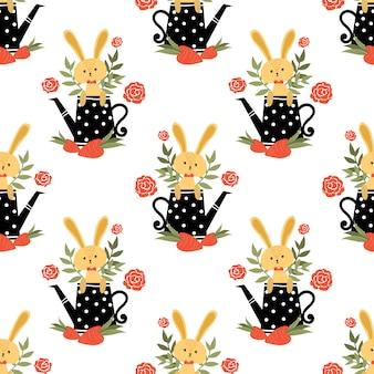 Śliczny królik bezszwowy wzór.