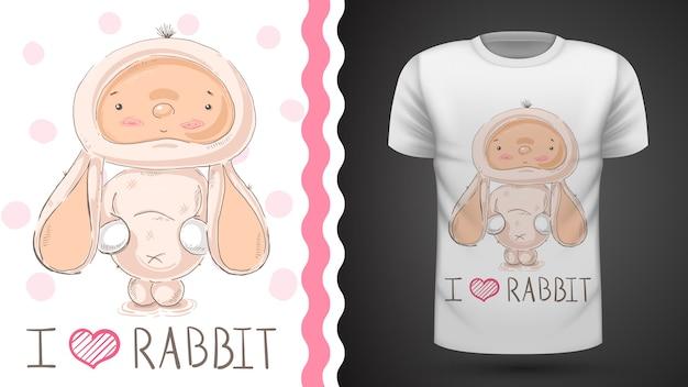 Śliczny królik dla dzieci - pomysł na t-shirt z nadrukiem