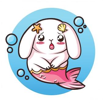 Śliczny królik holland lop na kostiumie mermaid