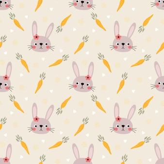 Śliczny królik i easter jajek bezszwowy wzór.