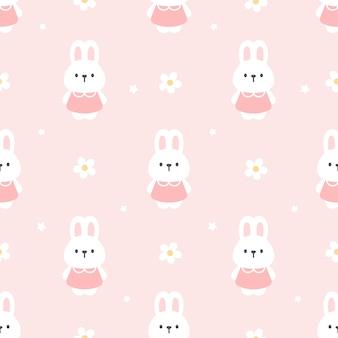 Śliczny królik i kwiatu bezszwowy deseniowy tło