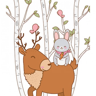 Śliczny królik i renifer w leśnych postaciach polowych