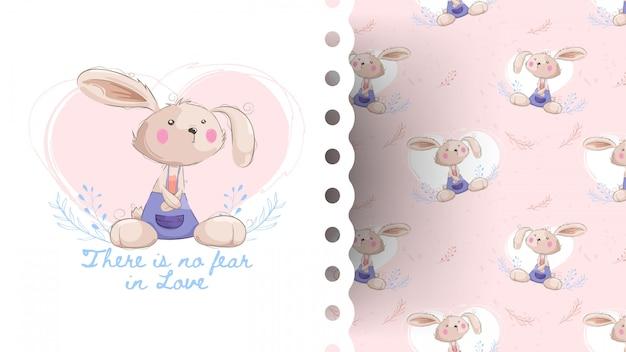 Śliczny królik kreskówka z wzorem