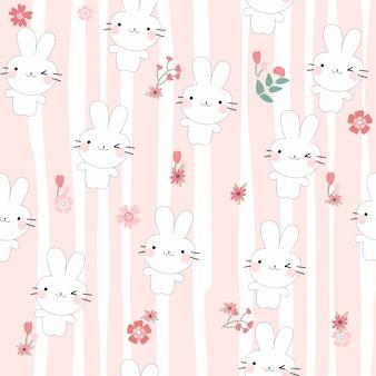 Śliczny królik kreskówki bezszwowy wzór