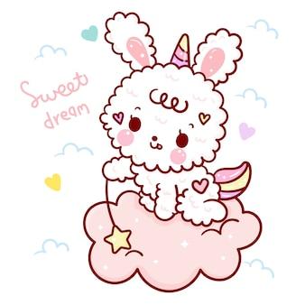 Śliczny królik królik nosić motyw jednorożca róg słodkich snów na chmurze.