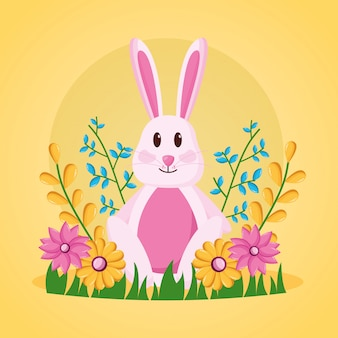 Śliczny królik kwitnie ilustrację