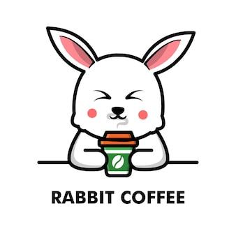 Śliczny królik pić filiżankę kawy kreskówka zwierzę logo ilustracja kawa